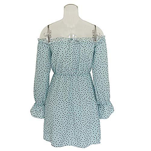 A Blue Vestido Mini Mujer L TTSKIRT Vaina Lunares AxtYPS