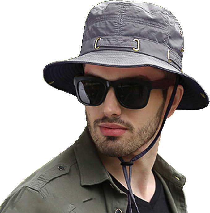 SIYWINA Hombres Sombrero de Pescador deAncha Borde Redondo Anti-UV Sombrero