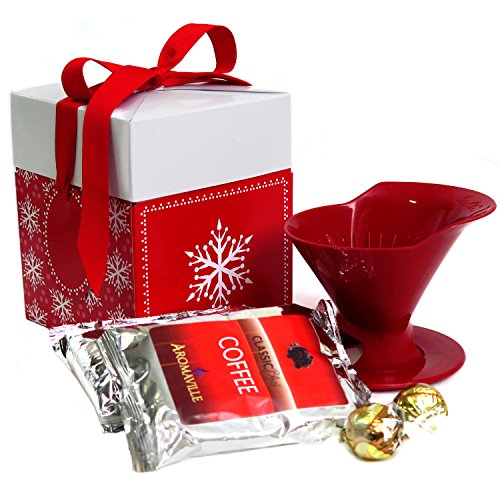 Holidays Coffee Gift Set with Melitta Pour Over Brewer for Christmas - Coffee Gift Set for Christmas- Coffee Lovers Gift - Coffee Gift Basket