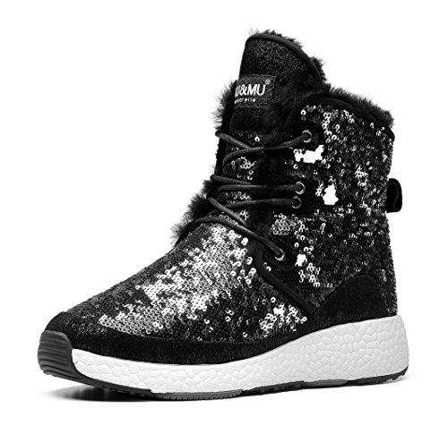 AU&MU Women Classic Short Sparkles Boots Black Size ()