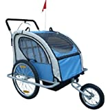 Aosom Elite 2in1 Double Child Bike Trailer / Jogger - Blue