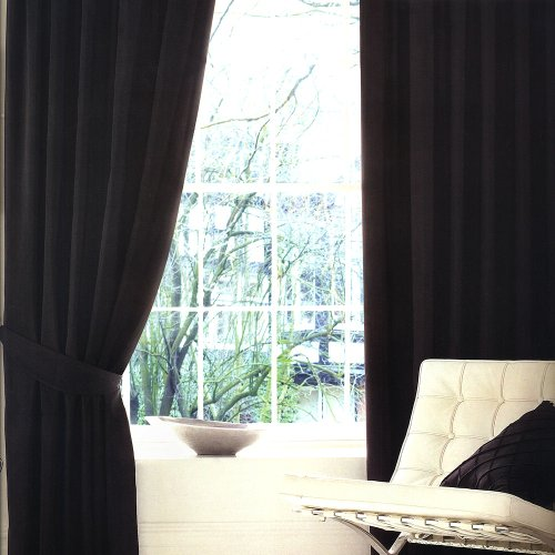 BLACK FAUX SILK LINED CURTAINS WITH EYELET RING TOP 66 x 90 ...