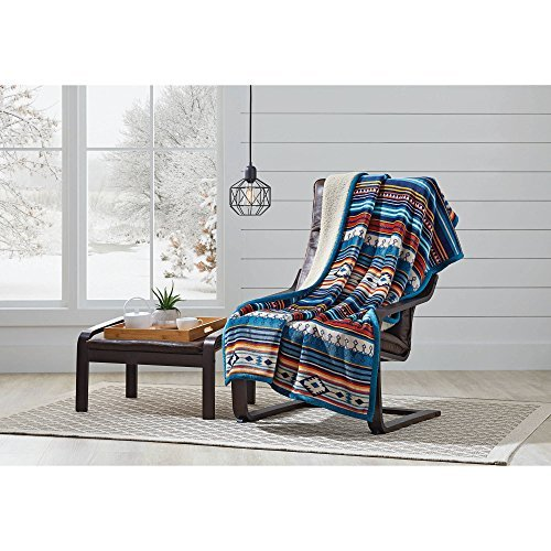 """Better Homes and Gardens Super Soft and Warm Winter Velvet Plush Reversible to Sherpa Throw Blanket, Fun Prints with Solid Cream Back, 50"""" x 60"""" (Pendleton Aztec) from Better Homes & Gardens"""