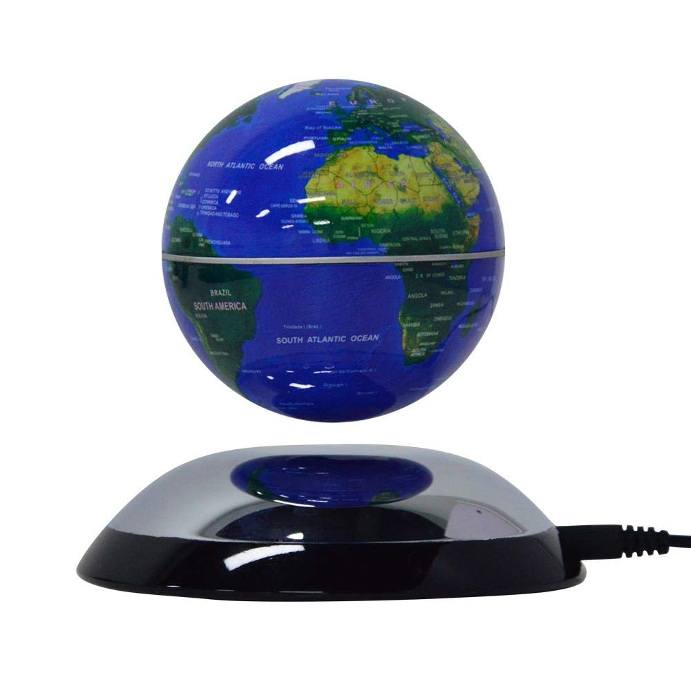 Lightahead Rotating Magnetic Levitation Globe Suspended in Air Floating Earth World Globe Best (Blue)