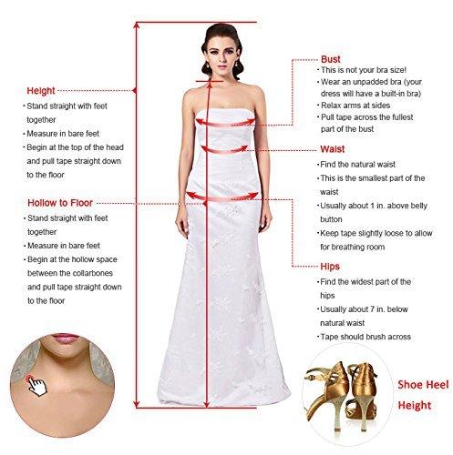 Milano Bride Damen Elegant Einfach Abenkleider Abschlusskleider Ballkleider Kleider Spitze Schleife Kurz Mini