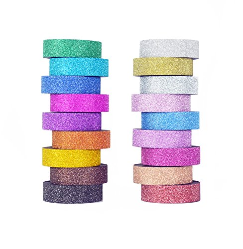 Washi Tape set 18 rolls by Tanpopo Art -Glitter Collection | Sparkle Shimmer Glitter Tapes in 18 Colors