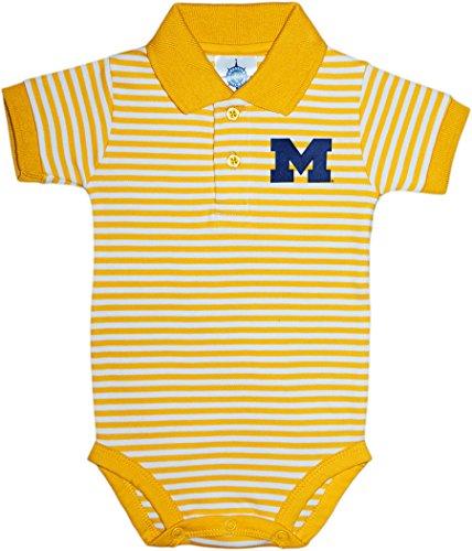 (Creative Knitwear University of Michigan Wolverines Block M Newborn Striped Polo Bodysuit, 12 Months, Gold)