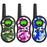 Tintec Walkie Talkies 3 Pack, Camo Exterior Vox Box Voice Activated 22 Channels 2 Way Radio Toy with Backlit LCD Flashlight, 3 Miles Range for Kids, Outdoor Adventures, Camping, Hiking