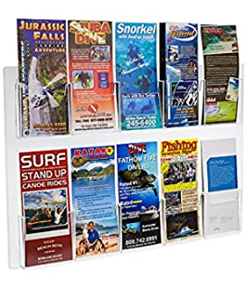 Amazon source one 4 pocket wall mount trifold brochure holder source one deluxe clear acrylic 10 pocket wall mount trifold brochure holder 1 pack reheart Gallery