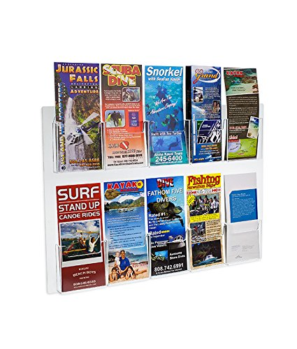 Source One Deluxe Clear Acrylic 10-Pocket Wall Mount Trifold Brochure Holder (1 (Pocket Brochure Holder)