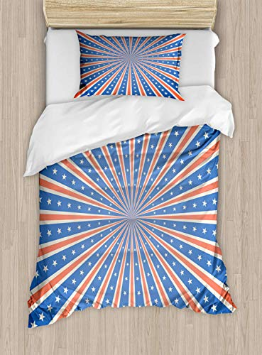 (Vintage Stripe Duvet Cover Set Twin Size 4Th Of July Themed Festive Whirlpool Effect Lines And Stars,2 Piece Bedding Set With With 1 Pillowcase For Kids Bedding,Salmon Eggshell Azure Blue)