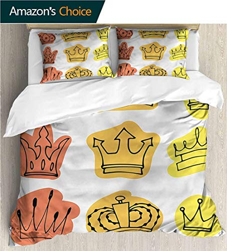 Majestic King Sham - Bedspread Set Queen Size,Box Stitched,Soft,Breathable,Hypoallergenic,Fade Resistant Print,Decorative Quilted 2 Piece Coverlet Set With 2 Pillow Shams-King Majestic Symbol Crowns (87
