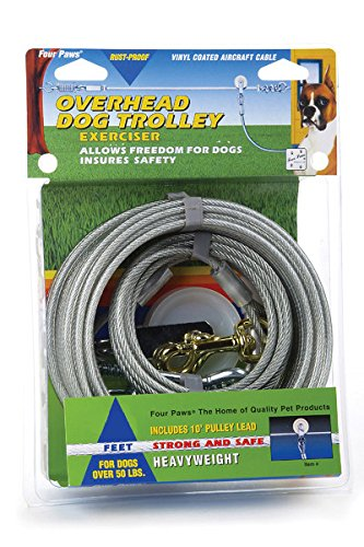 Four Paws Silver Heavy Weight 75 Foot Dog Trolley Exerciser