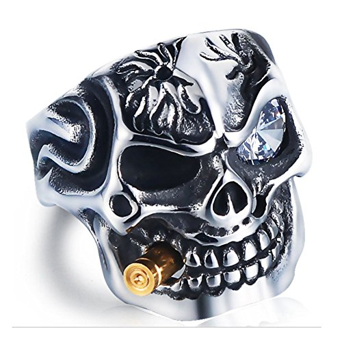Ring Motorcycle - HanTian Anti-allergic domineering diamond-studded stainless steel ring Rock-loving punk-man's ring (13)