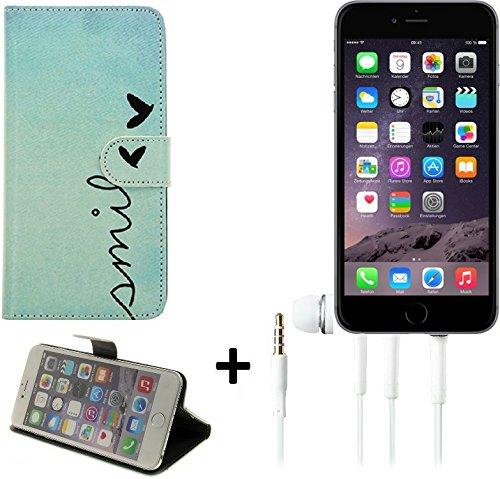 TOP SET: Wallet Case 360° pour Smartphone Apple iPhone 6, 'smile' + Écouteurs   BookStyle Étui sac protection flipstyle flip cover - K-S-Trade (TM)