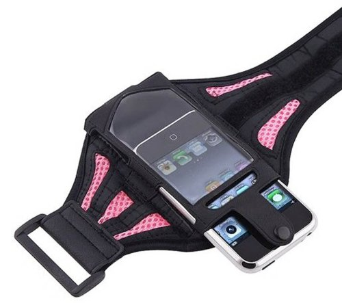 G4GADGET® Mesh Pink Running Armband Case Cover for Apple Iphone 4s/4