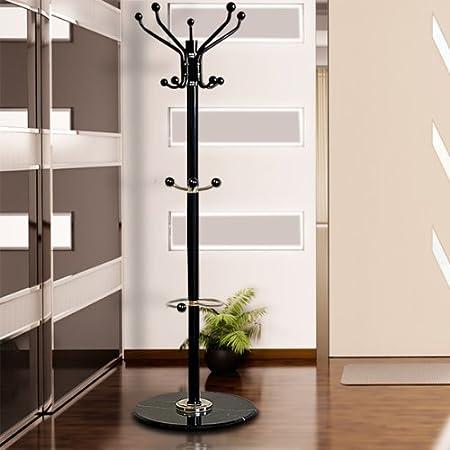 Deuba Perchero con pie de mármol Negro | 173 cm | 14 Ganchos y Paragüeros | para Colgar Ropa, Sombrero en el vestíbulo, Corredor
