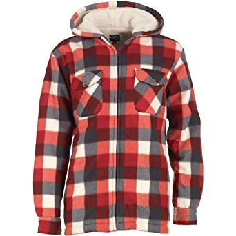 3100091d78a Kangaroo Poo Mens Hooded Borg Lined Check Shirt Navy Red Ecru - XXL   Amazon.co.uk  Clothing