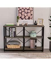 GRELO Home Foyer Tables for Entryway, Rustic Narrow Console Table for Living Room, 3-Tier Industrial Sofa Table, 39 Inch Gray Oak