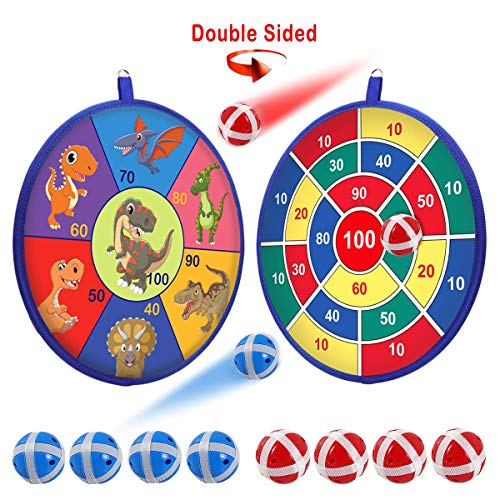 POKONBOY Kids Dart Board Game Sets - Double Sided Fabric Dart Board with 8 Sticky Balls | Excellent Indoor and Party Safe Dart Game for Kids Carnival Dinosaur Party Supplies Favors