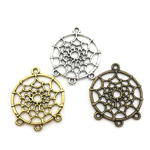 30 PCS Dream Catcher Charm Collection - Antique Silver Bronze Gold Colors Dreamcatcher Metal Pendants for Jewelry Making DIY Findings (HM57)