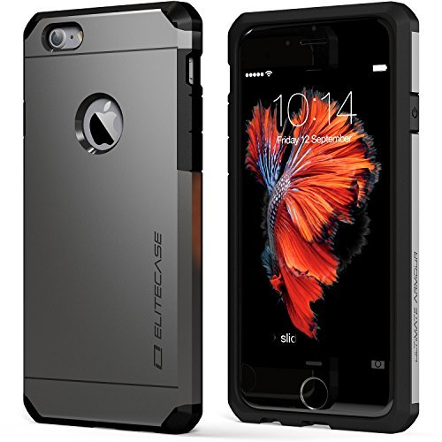 Price comparison product image iPhone 6s Case - EliteCase Ultimate Armor Durable and Protective Triple Layer Design. Bundle with Clear HD Screen Protector - Gunmetal Fits 4.7-Inch