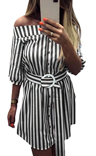 Shirt C Slim Off Black Fit Sexy Women's A Half line Dress amp;H Shoulder Striped Sleeve Fqr8xFw