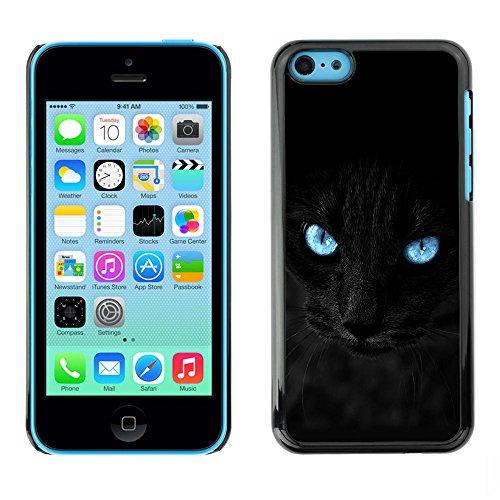 LASTONE PHONE CASE / Coque Housse Etui Shock-Absorption Bumper et Anti-Scratch Effacer Case Cover pour Apple Iphone 5C / Black Siamese Cat Panther Eyes Pet Feline