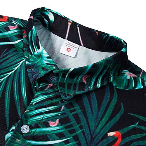 Hommes Longue Bouton Imprimé Flamingo Avec Style Homme Chemises 2 Funnycokid Hawaïenne Chemise Vacances Manche IqvpxHY
