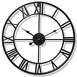 WIMHY Large Metal Wall Clock, Vintage Iron, Silent Quartz Movement 16-inch / 40cm, Suitable for Kitchen, Living Room, Dining Room, Office (Black)