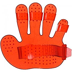 Tough-1 ONE Hand Shaped RED Rubber Ladies/Youth Soft Finger Jelly Curry Bathing Curry