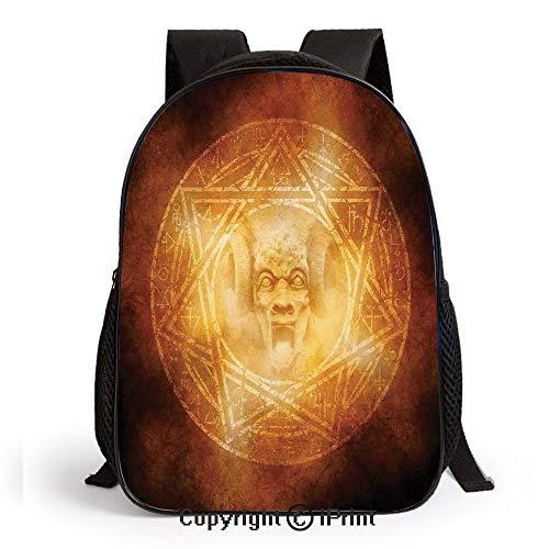 Demon Trap Symbol Logo Ceremony Creepy Ritual Fantasy Paranormal Design Print School Backpacks For Girls Kids Elementary School Bags Bookbag,Orange]()