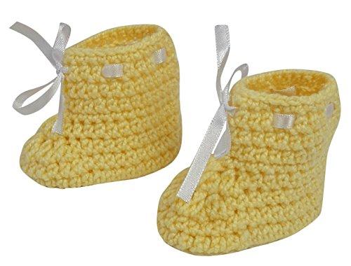 Love Crochet Art Calcetines Pink Handmade Baby Booties Calcetines Recién nacidos Prewalker Amarillo claro