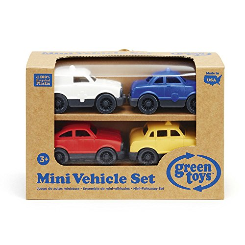 Toy Car Set by Green Toys - Police, Ambulance, Taxi, Fastback
