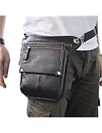 Le'aokuu Mens Genuine Leather Messenger Hiking Waist Hip Bum Pack Drop Leg Bag (The Black 2)