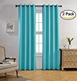bright green thermal curtains - Miuco Room Darkening Curtains Textured Grommet Thermal Insulated Blackout Curtains for Bedroom Set of 2 52x95 Inch Turquoise