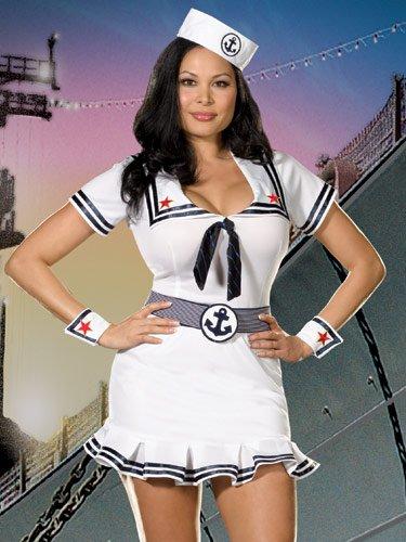 Cutie Sailor Girl Costumes (Plus Size 5 Piece Set Cruise Cutie Costume (1X-2X))