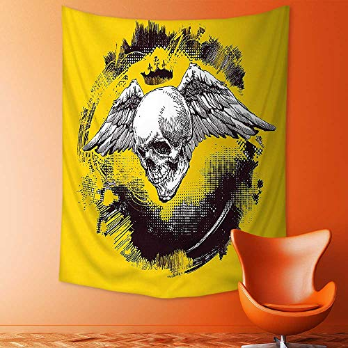 (Polyester Tapestry Multi Purpose The Death Angel Crowned Skull with Wide Magnificent Feather Wings Yellow Back and Wall Hanging for Bedroom Living Room Dorm )