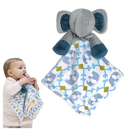 Soft Cuddly Infant Blanket (BabyPrice Baby Adorable Elephant Security Blanket Toy Soft Cuddly Baby Blankie Buddy for Girls and Boys)
