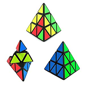 MOFANG FAMILY Set of 3 Speed Cube Puzzle Pyraminx Megaminx Gold Mirror Magic Twisty Puzzle Cube Brainteaser Cube