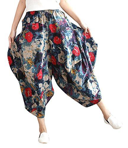 バラ色胃与える[FEOYA] ガウチョパンツ バルーンパンツ サルエル レデイーズ ゆったり 大きいサイズ 夏 7分丈 リネン花柄 民族衣装 部屋着 3色