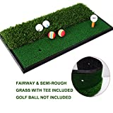 Foxcesd Golf Mat, Golf Hitting Mat with Realistic Fairway & Rough Portable Golf Practice/Training Turf Mat Mini Golf Green Grass Putting Mats for Indoor and Outdoor Golf Sports 12'' x 24''