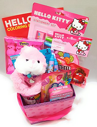Hello Kitty Birthday, Get Well Soon, I Love You or Just Becasue Gift Basket for Kids, (13 (Gift Basket Just Basket)