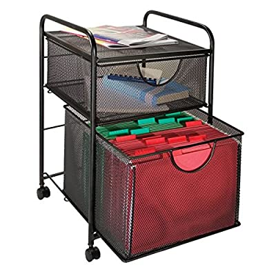 Design Ideas 2 Drawer File Cart, Black