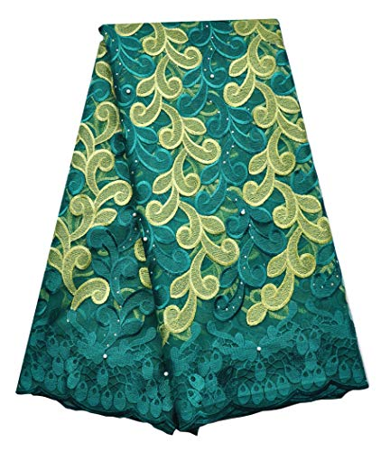 (SanVera17 African Lace Net Fabrics Nigerian French Fabric Embroidered and Manual Beading Guipure Cord Lace for Party Wedding 5 Yards (Green))