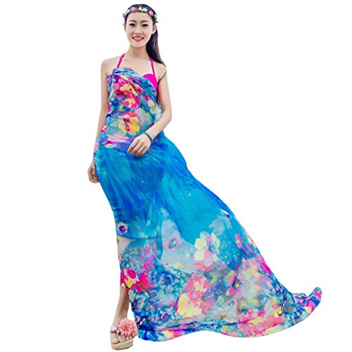 GERINLY Chiffon Sarong Wrap: Pretty Floral Print Plus Size Beach Cover Up (Floral Print Pareo)