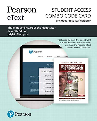 Pearson eText for The Mind and Heart of the Negotiator -- Combo Access Card (7th Edition)