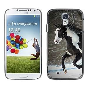 CashCase @ FOR Samsung Galaxy S4 Horse Colorful Indian White Brown Winter Free Doble capa de armadura de la cubierta del caso del protector