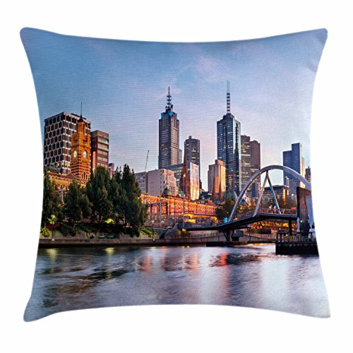 City Throw Pillow Cushion Cover by Ambesonne, Early Morning Scenery in Melbourne Australia Famous Yarra River Scenic, Decorative Square Accent Pillow Case, 26 X 26 Inches, Orange Green Pale - Stores City Melbourne Beach