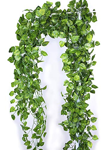 - MaxFlowery Sale- Artificial Heart Shape Melon Leaf Hanging Ivy Vines Bundle, 86 Ft Faux Dropping Plants Greenery Garland, Indoor Outdoor Wedding, Home Decoration